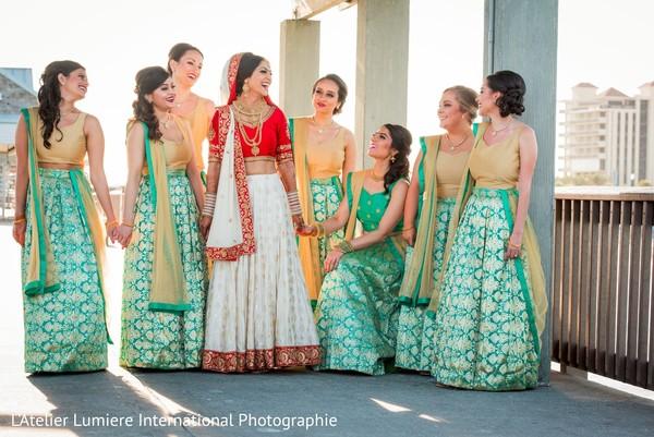 Charming Indian bride entourage.