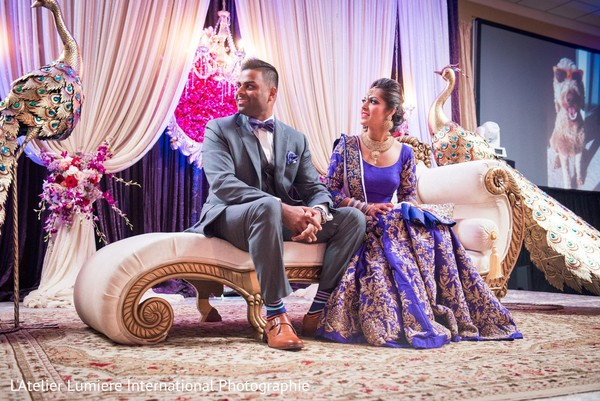 indian bride and groom,reception fashion,indian wedding reception,floral and decor