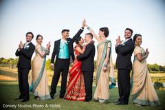 indian bride,indian groom,indian fusion wedding ceremony,bridesmaids,groomsmen