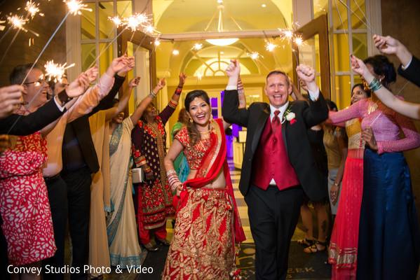Sparklers Indian wedding exit.