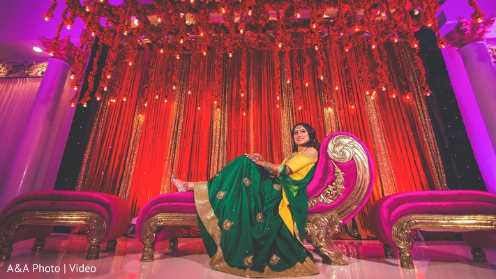 Lovely green and yellow sari
