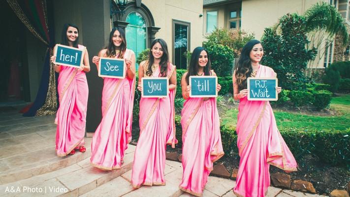 pink sari,indian bridesmaids,indian bridesmaids fashion