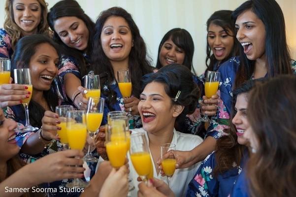 indian bride toasting