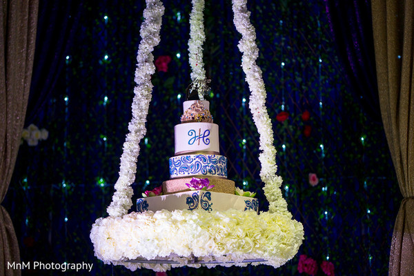 indian wedding reception,cakes and treats,floral and decor