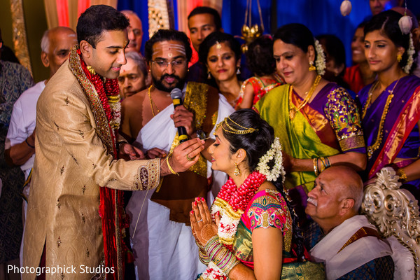 Indian bride and groom during wedding ceremony