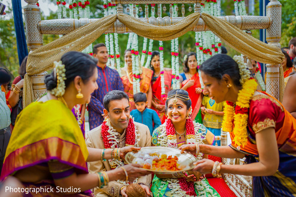 Indian bride and groom and mehndi party