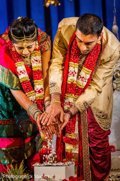 Indian bride and groom's Rajaham ritual