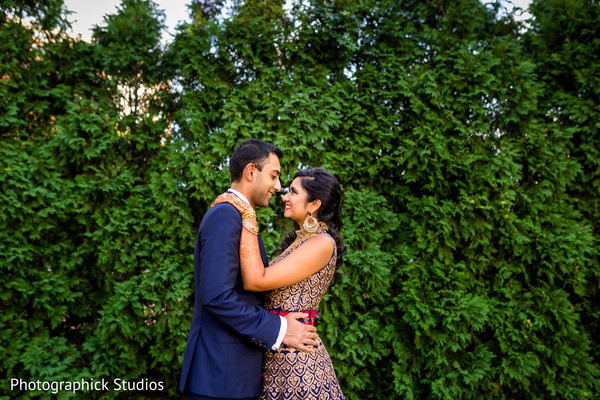 Romantic indian bride and groom