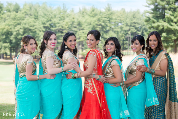 Indian bride's lovely entourage.