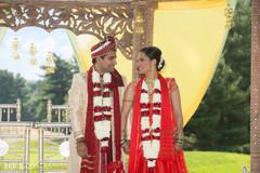 indian wedding ceremony,indian bride and groom,outdoor ceremony
