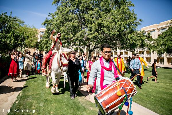 Indian groom's baraat procession