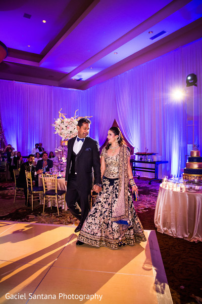 Indian bride and groom arriving at their wedding reception in Ft. Lauderdale, Florida Fusion Indian Wedding by Gaciel Santana Photography