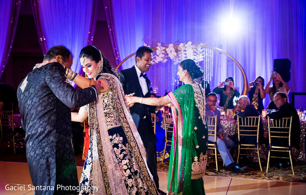 Indian bride and groom on their wedding reception in Ft. Lauderdale, Florida Fusion Indian Wedding by Gaciel Santana Photography