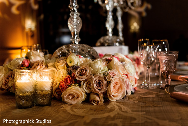 Floral table centerpiece in Stylized Photoshoot by Photographick