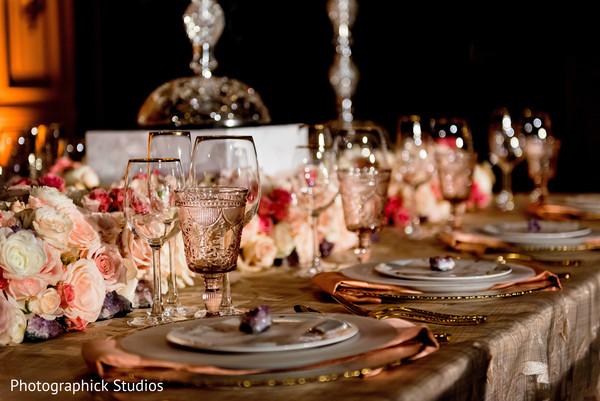 Astonishing indian wedding reception table decor in Stylized Photoshoot by Photographick