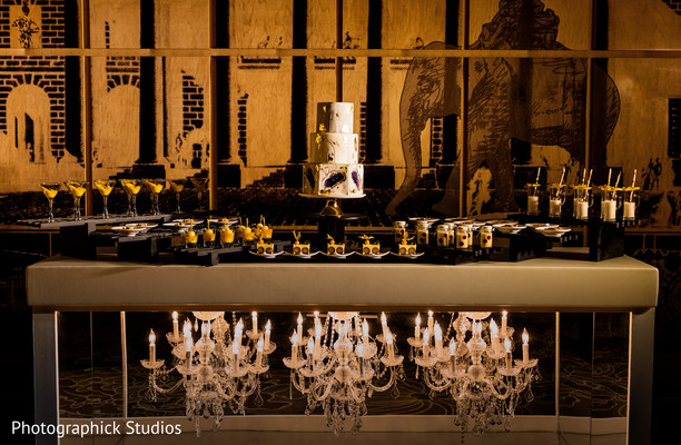 Indian wedding cake and desserts station decor in Stylized Photoshoot by Photographick