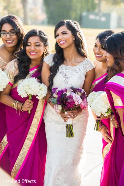 indian bride,indian bridesmaids,saris,bridal bouquets