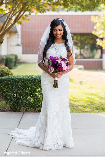 bridal bouquet,white wedding dress,indian bride,portrait