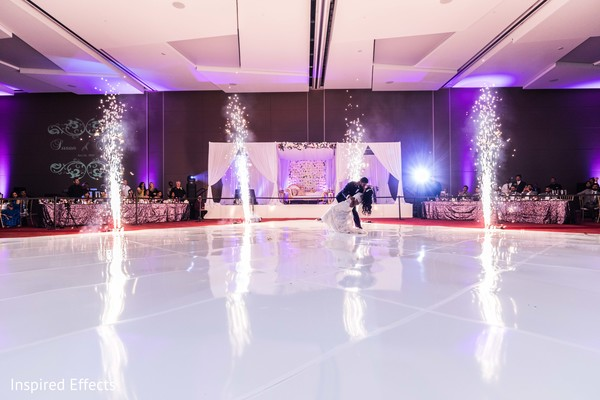 Ecstatic Indian bride and groom choreography.