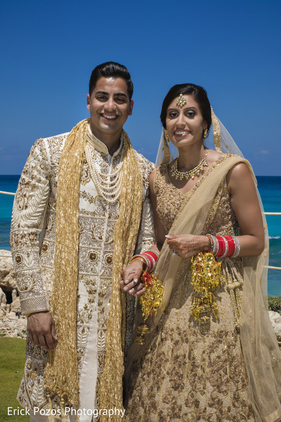 Indian bride and groom portrait in Cancun, Mexico Destination Indian Wedding by Erick Pozos Photography