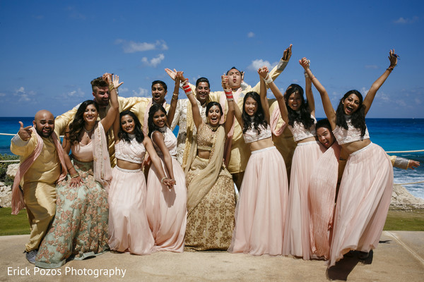 Indian bride and groom with bridesmaids and groomsmen in Cancun, Mexico Destination Indian Wedding by Erick Pozos Photography