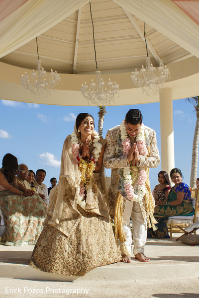Sweet indian bride and groom in Cancun, Mexico Destination Indian Wedding by Erick Pozos Photography