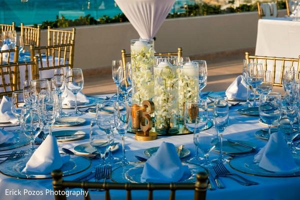 Phenomenal indian wedding reception table decor in Cancun, Mexico Destination Indian Wedding by Erick Pozos Photography