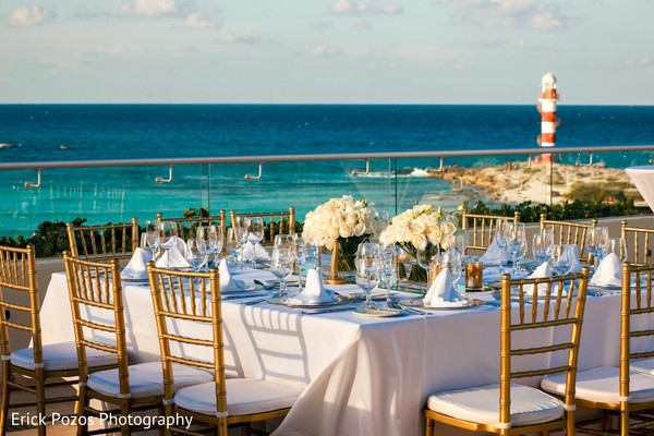 Elegant indian wedding reception table decor in Cancun, Mexico Destination Indian Wedding by Erick Pozos Photography