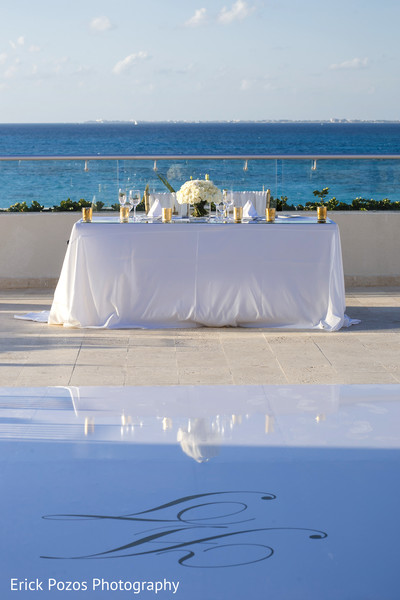 Indian bride and groom's reception table in Cancun, Mexico Destination Indian Wedding by Erick Pozos Photography