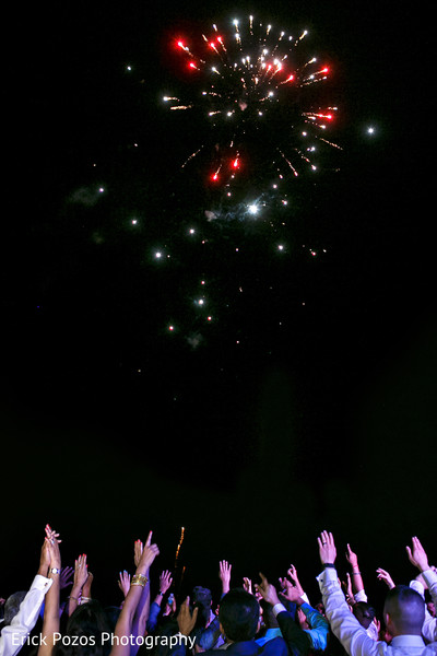 Indian wedding reception fireworks in Cancun, Mexico Destination Indian Wedding by Erick Pozos Photography