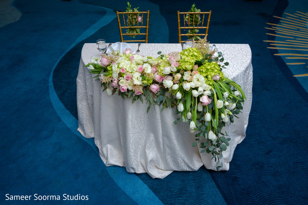 floral and decor,sweetheart table,planning and design,indian wedding reception