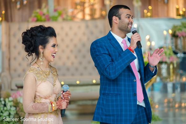 indian groom,indian bride,indian wedding reception,wedding speech