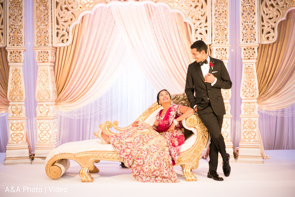 indian bride and groom,indian wedding photography,wedding stage,reception fashion