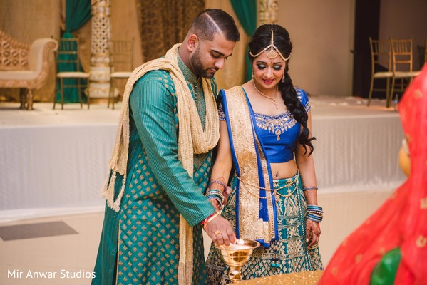 Indian bride and groom during sangeet