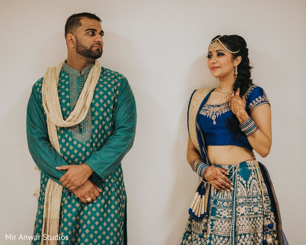 Indian bride and groom at sangeet