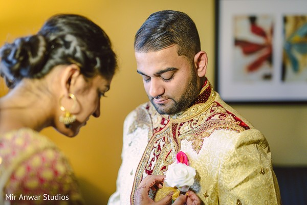 Indian groom's boutonniere