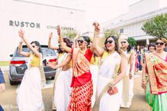 indian bridesmaids' fashion,indian bride fashion,milni ceremony