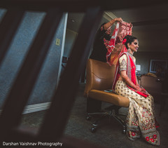 getting ready,indian bride,hair and makeup,bridal fashion