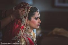 getting ready,indian bride,hair and makeup,bridal fashion,dupatta