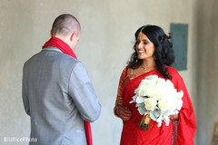 bridal bouquet,bridal lengha,red lengha