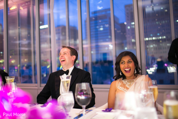 Indian newlyweds having a blast at their reception