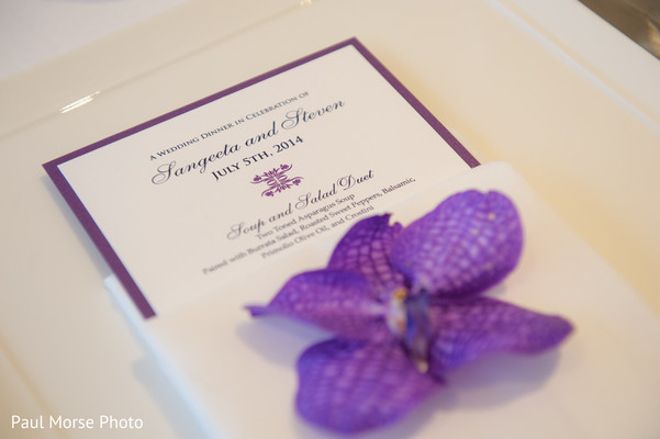 Gorgeous white and purple indian wedding invitation