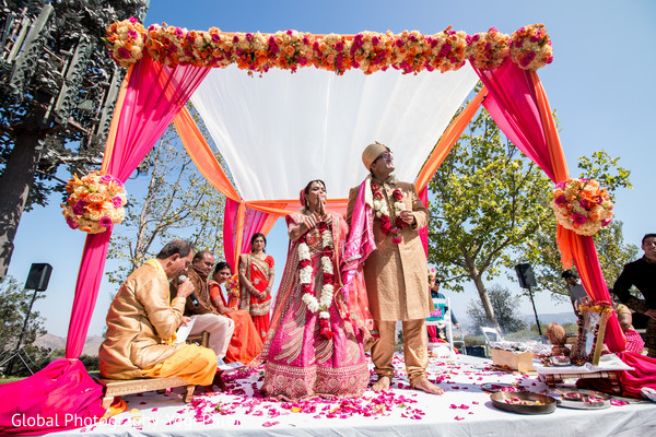 indian wedding ceremony,mandap,floral and decor,indian bride and groom