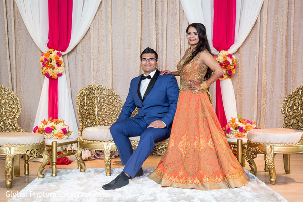 reception fashion,indian bride and groom,indian wedding reception