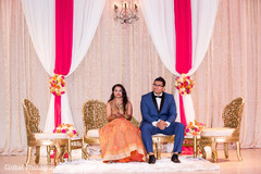 indian bride and groom,indian wedding reception,wedding stage