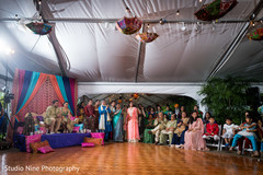 Indian bride and groom during sangeet night
