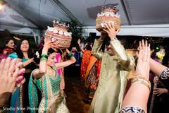 Indian bride and groom dancing