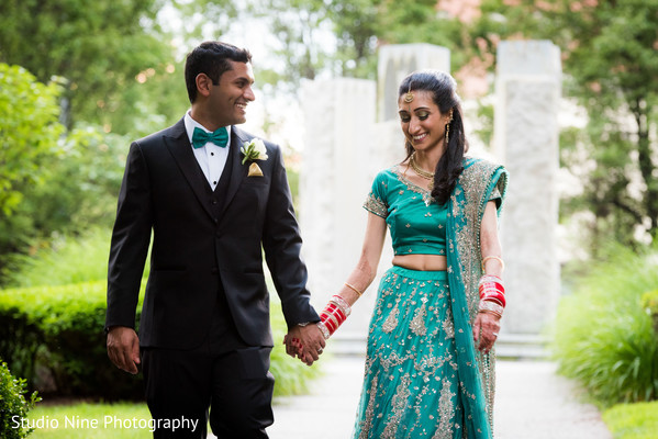 indian groom suit,indian bride lengha,outdoor photography