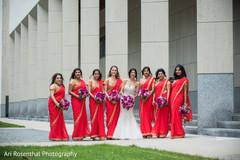 indian bride,indian bridesmaids,white wedding dress,indian wedding photography,sari