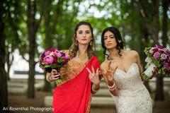 indian bride,indian bridesmaid,white wedding dress,indian wedding photography,sari